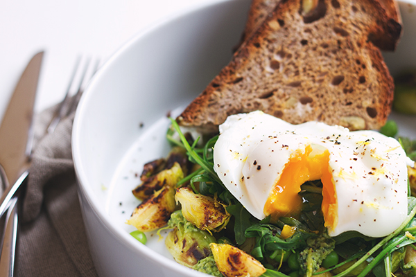 Roasted Brussel Sprout, Fresh Pea and Pesto Hash | Fig & Honey