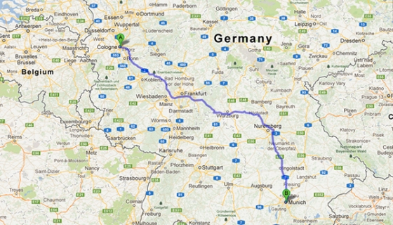 cologne to munich map