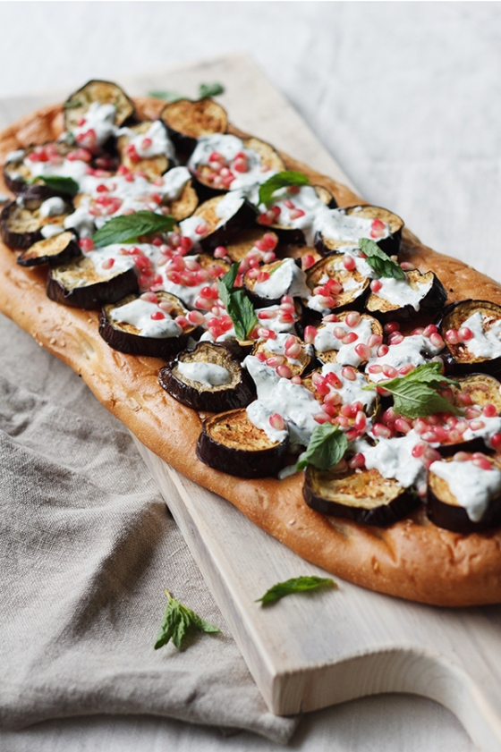 Roasted Eggplant Pide with Mint Yogurt and Pomegranate | Fig & Honey
