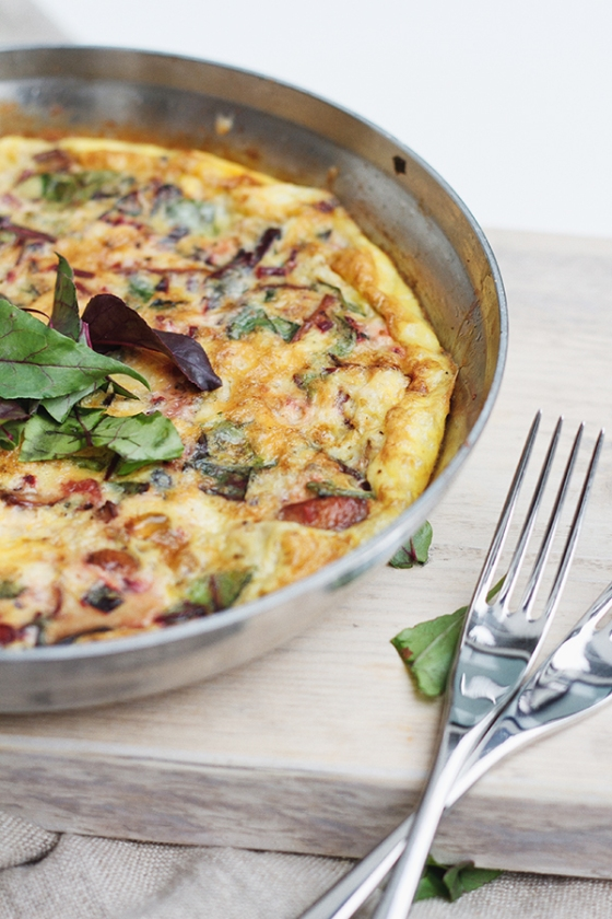 Beet Green and Mushroom Frittata | Fig & Honey