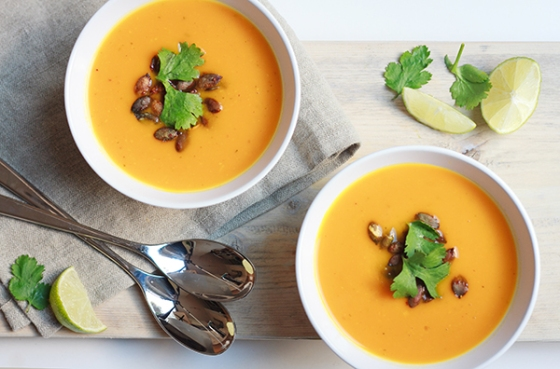 Pumpkin, Ginger and Kaffir Lime Soup | Fig & Honey